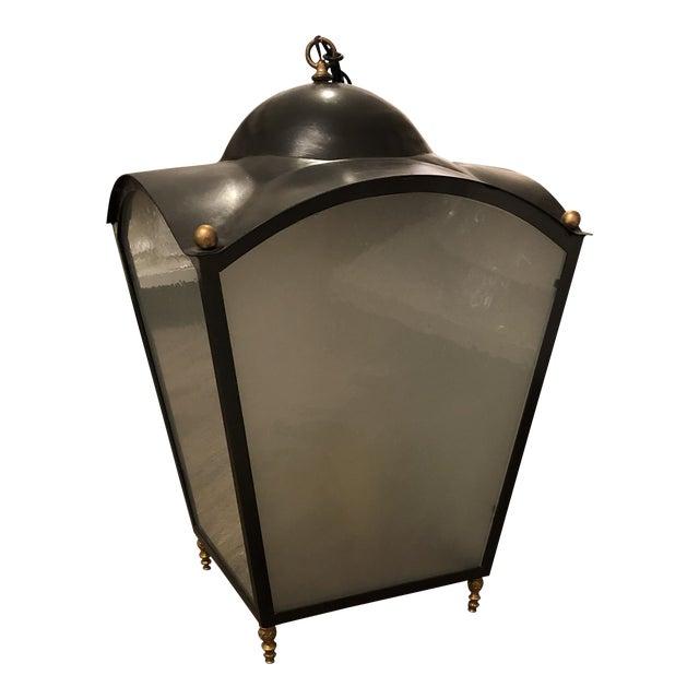 Painted Iron / Gilt Bronze Hanging Lantern For Sale