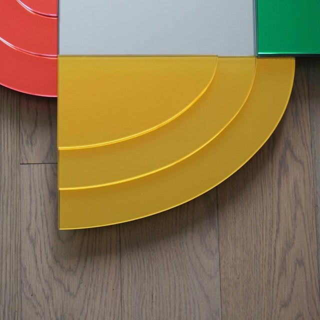 2007 Sottsass Postmodernism Mirror in Green Blue Yellow Pink for Glas Italia For Sale - Image 11 of 12