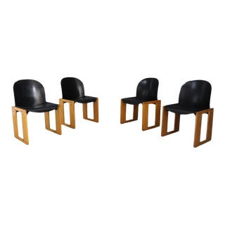 Set of 4 Chairs Tobia Scarpa Serious Afra for B & B Italy. For Sale