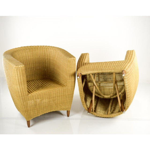 Mid-Century Modern Wicker Tub Chairs - Pair For Sale - Image 11 of 11