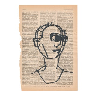 Contemporary Minimalist Portrait Ink Drawing on Vintage Paper For Sale