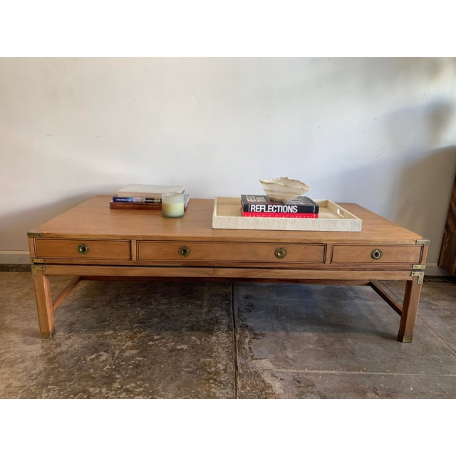 Campaign Style Wood Coffee Table W/Drawers For Sale - Image 9 of 10