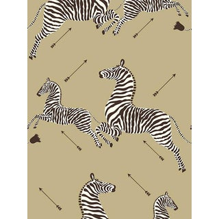 Scalamandre Zebras, Gold Wallpaper For Sale
