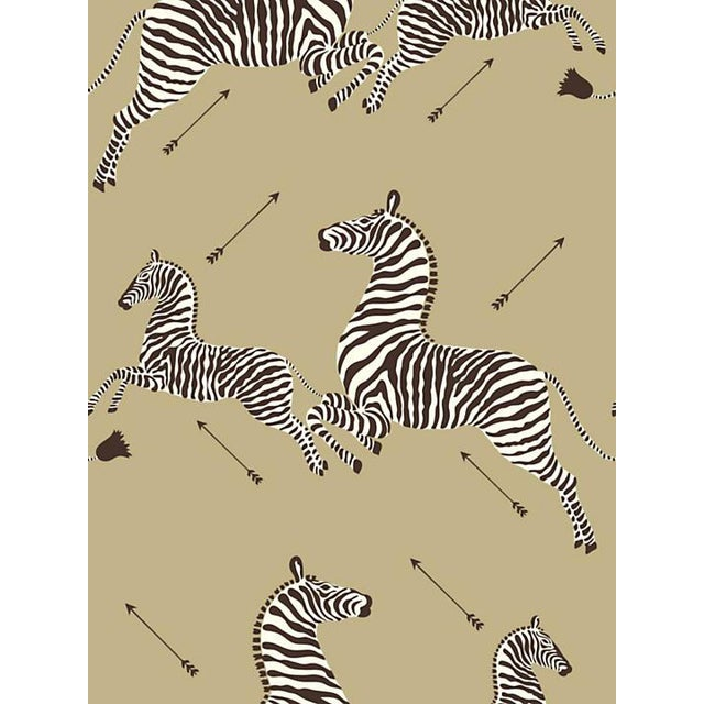 Scalamandre Zebras, Gold Wallpaper For Sale
