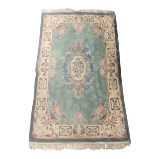 Vintage 1980's Wool Aubusson Rug - 5′ × 8′ For Sale