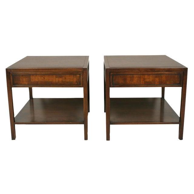 Pair Mahogany Parquet Lamp Tables for John Stuart For Sale