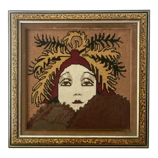 Vintage Wall Art Needlepoint Gloria Swanson