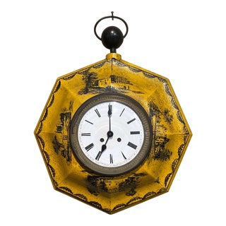 19th Century, French Napoleon III Painted Tole Wall Clock For Sale