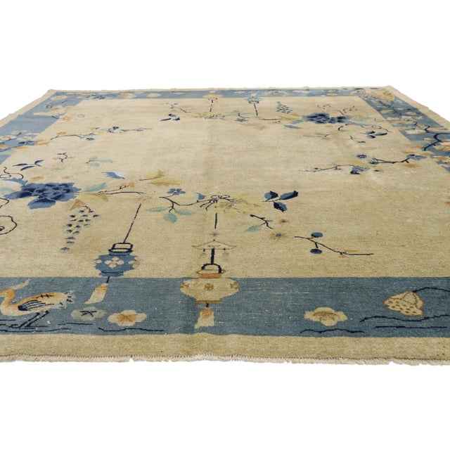 Asian Antique Chinese Peking Pictorial Rug - 10′2″ × 11′6″ For Sale - Image 3 of 10