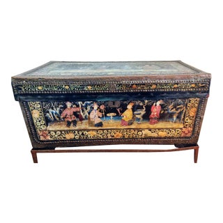 19th Century Chinese Polychrome Chest on a Metal Stand For Sale