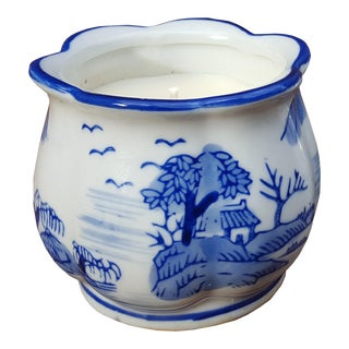 Small Vintage 1960s Blue & White Jar Candle For Sale
