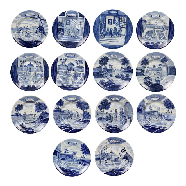 Collection of Delft Blue and White Month Plates - Set of 14 For Sale