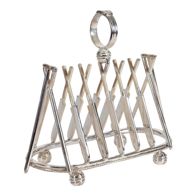 Vintage English Silver Plate Cricket Sport Design Toast Rack For Sale