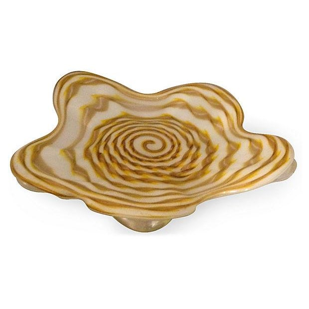 Hand Blown Footed Glass Dish - Image 1 of 5