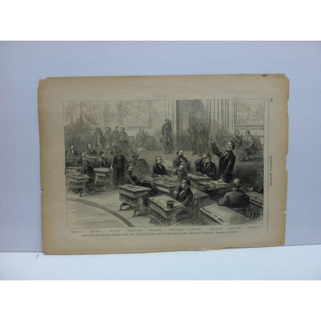"Mid 19th Century Antique ""Expulsion of Senator Bright From the United States Senate for Disloyalty"" Pictorial Battles of the Civil War Print For Sale - Image 4 of 4"