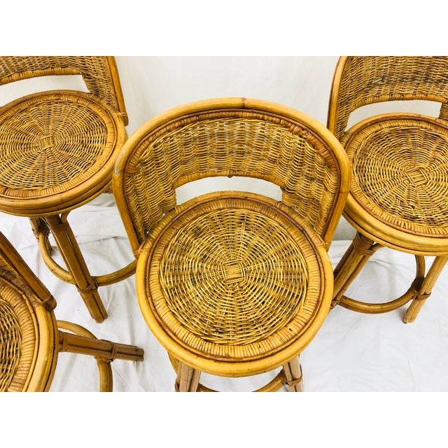 Bamboo Set Vintage Bamboo & Wicker Stools For Sale - Image 7 of 11