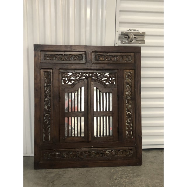 Vintage Hand Carved Wood Indian Wall Mirror For Sale - Image 9 of 9