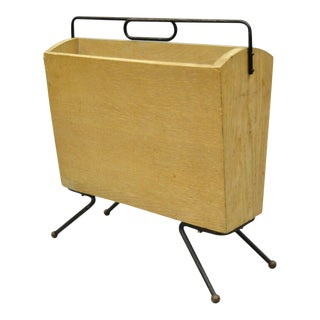 Vintage Italian Atomic Era Mid Century Modern Brass & Wood Magazine Rack Holder For Sale