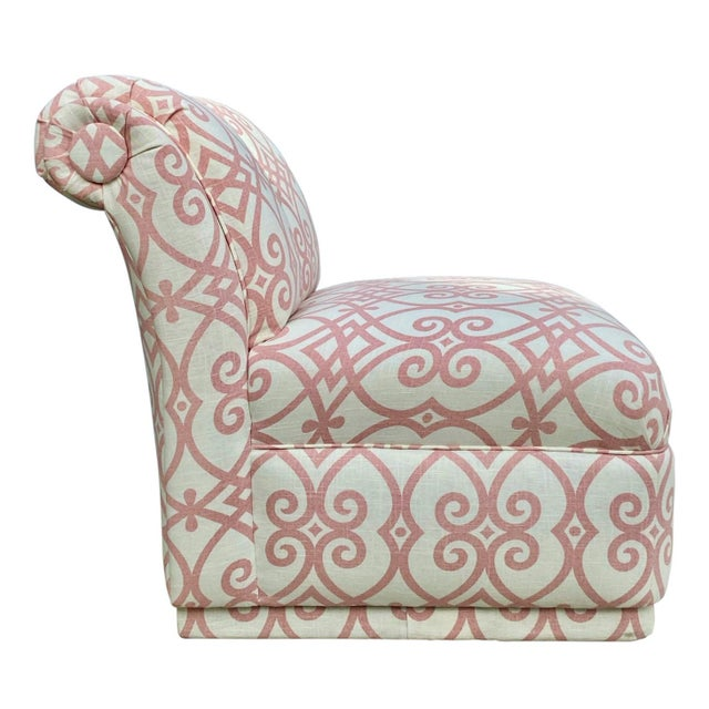 American 90s Roll Back Chair Armless Chair Newly Upholstered in Vintage Fabricut Linen For Sale - Image 3 of 8