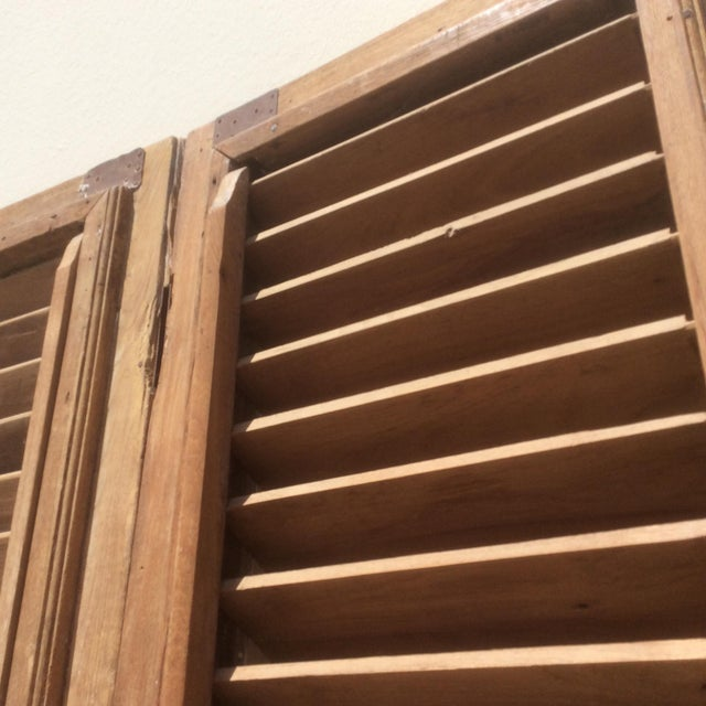 Pair of Heavy Rustic Antique Wood Shutters For Sale In San Antonio - Image 6 of 9