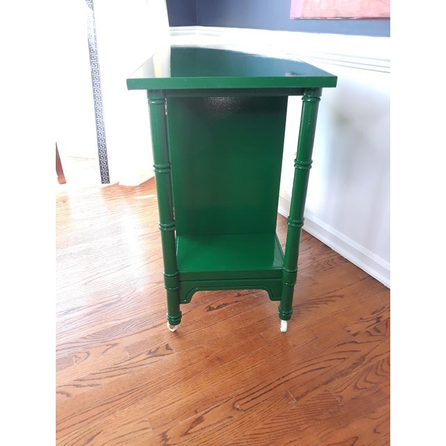 Hollywood Regency Hollywood Regency Lacquered Green Faux Bamboo Bar Cart For Sale - Image 3 of 13