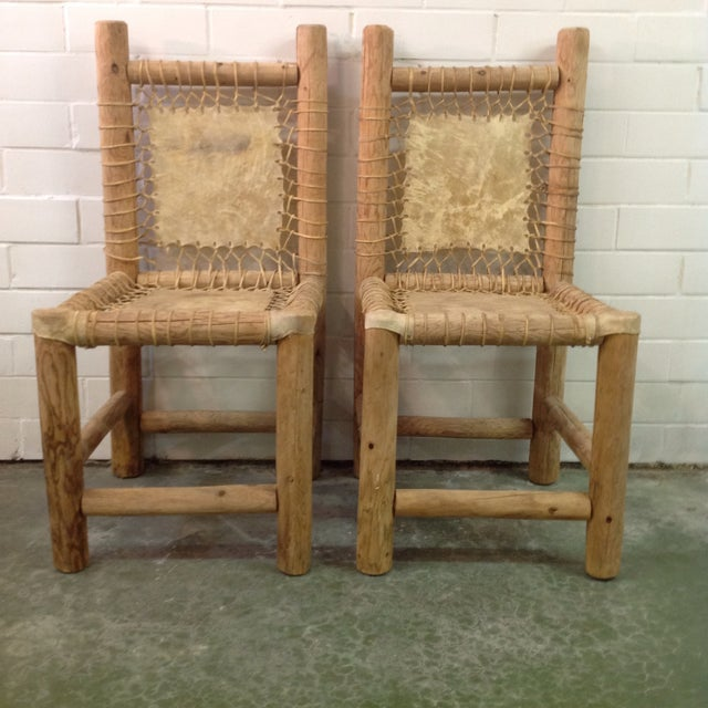 1900 - 1909 Vintage Handmade Lodgepole & Rawhide Chairs - Pair For Sale - Image 5 of 6