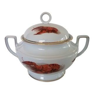 """Vintage """"J K W"""" Porcelain Lobster Tureen From Bavaria Marked For Sale"""