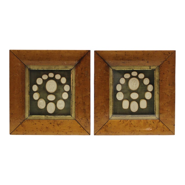 19th Century Antique Grand Tour Intaglio Sculptural Wall Objects - a Pair For Sale