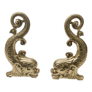 Bradley & Hubbard Brass Dolphin-Form Andirons - a Pair For Sale