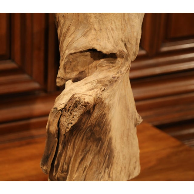 Modern Large Antique Driftwood Sculpture on Green Marble Base For Sale - Image 3 of 8