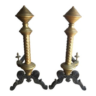 Antique Brass & Cast Iron Andirons - A Pair