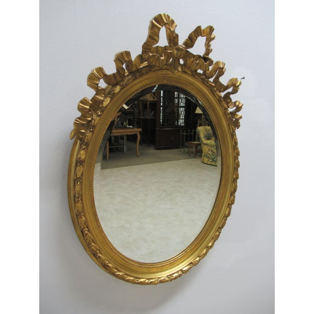 French Vintage French Regency Gold Gilt Oval Hanging Wall Mirror For Sale - Image 3 of 13