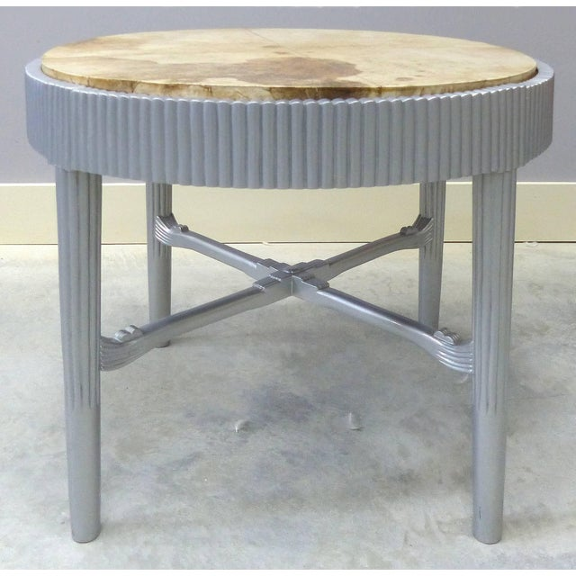 Art Deco Albert Rateau French Art Deco Lacquered Tables With Goatskin Tops, Pair For Sale - Image 3 of 11