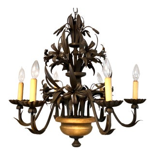 20th Century French/Italian Tole 6-Light Chandelier For Sale