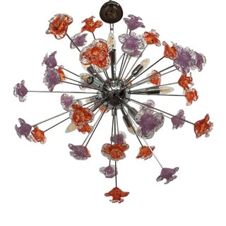 Contemporary Murano Glass Flowers Sputnik Chandelier For Sale