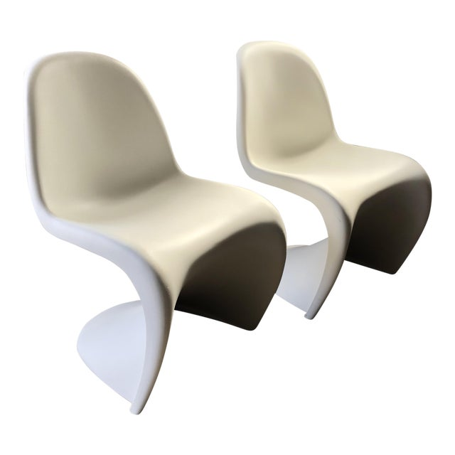 Modern Vitra Panton Matte White S Chairs - A Pair For Sale
