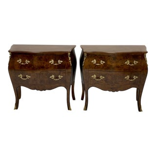 Pair of Hekman Italian Serpentine Burl Chests For Sale