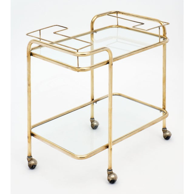 Mid-Century Brass and Glass Bar Cart For Sale - Image 4 of 10