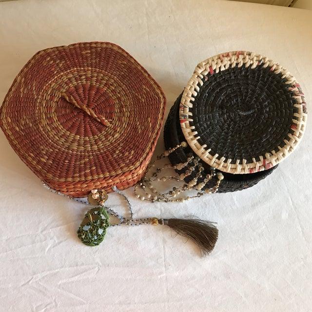 Natural Woven Boho Basket Boxes - A Pair - Image 7 of 10