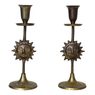 Brass Sun Candle Holders - a Pair For Sale
