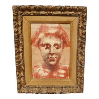 1930s Vintage Conte Portrait Drawing on Paper, Framed For Sale