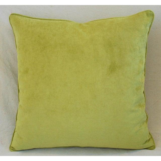 Abstract Custom Apple Green Velvet Pillows - Pair For Sale - Image 3 of 10