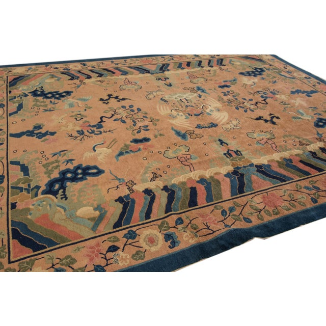 Antique Peach Peking Chinese Room Size Wool Rug 9 Ft X 11 Ft 9 In. For Sale - Image 9 of 11