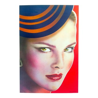 "Richard Bernstein Rare 1980 Lithograph Print "" Carole Bouquet "" Warhol's Interview Magazine Cover Pop Art Poster For Sale"