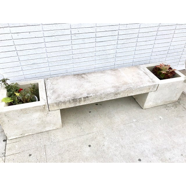 Mid Century Modern Concrete Planter Bench For Sale - Image 4 of 7