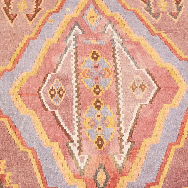 """Tribal 1930s Vintage Mid-Century Geometric Pink and Yellow Wool Kilim Rug-7'3'x13'10"""" For Sale - Image 3 of 8"""