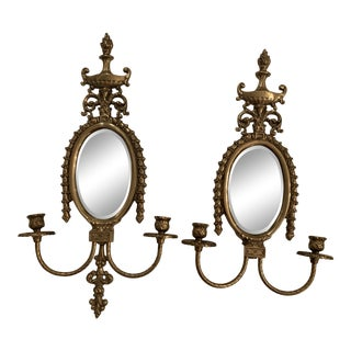 Italian Mirrored Brass Sconces - a Pair For Sale