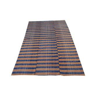 Vintage Turkish Striped Handmade Flatweave Textile - 5′6″ × 8′11″