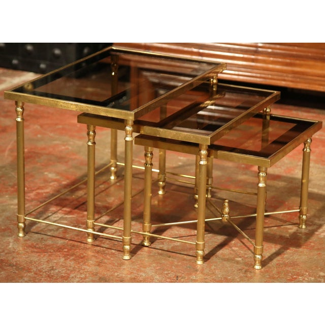Set of Early 20th Century, French Brass Nesting Tables Gigognes For Sale In Dallas - Image 6 of 9