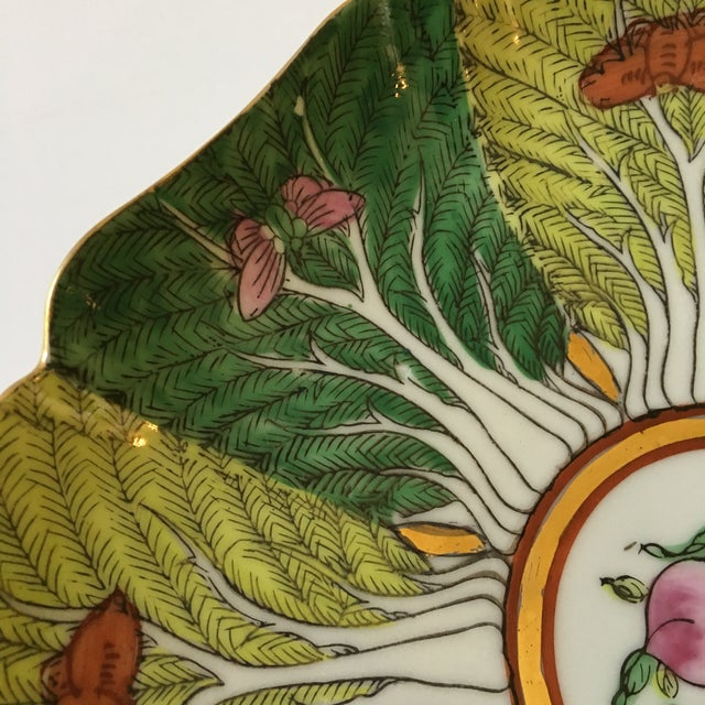 Mid 20th Century Mid-Century Porcelain Bok Choy Leaf & Butterfly Decorative Scalloped Plate For Sale - Image 5 of 11